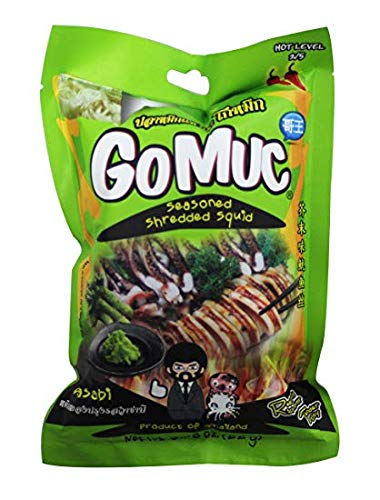GOMUC Brand, Seasoned Shredded Squid, Wasabi Flavour 22g X 4 Packs by Gomuc
