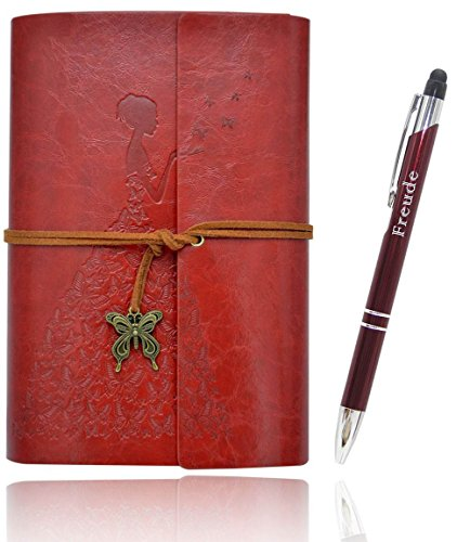 Lined Writing Journals Notebook (Value Pack) Refillable Leather Women's Notebook Journals, A6(7×5inch) Travel Diary, Best Gift for Teens Girls and Boys (Red,Lined Journals)