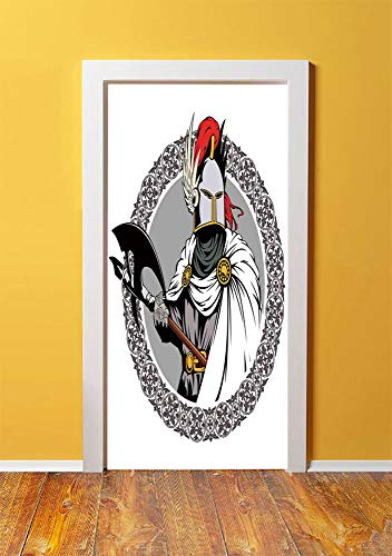 Medieval Decor 3D Door Sticker Wall Decals Mural Wallpaper,Illustration of the Medieval Knight with Traditional Costume and Ancient Mask Heroic Past,DIY Art Home Decor Poster Decoration 30.3x78.8613,M