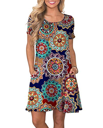 Women's Summer Casual Floral Printed Vest Dresses Scoop Sundress Short Sleeve Mini Beach Dresses(X-Large, Round Flower Navy Blue)