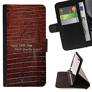 BullDog Case - FOR/HTC One M7 / - / brick wall graffiti art street building /- Monedero de cuero de la PU Llevar cubierta de la caja con el ID Credit Card Slots Flip funda de cuer