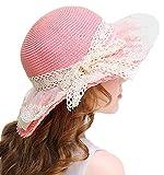 Bienvenu Little Girl Kids Summer Straw Hat Wide Brim Floppy Beach Sun Visor Hat,Pink