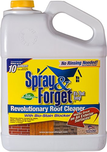 Spray & Forget Revolutionary Roof Cleaner Concentrate, 1 Gallon Bottle, 1 Count, Outdoor Cleaner, Mold Remover, Mildew Remover (Forget Cleaner Spray)