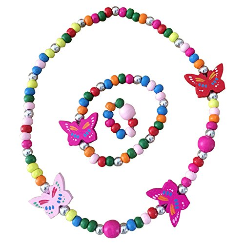 SMITCO Kids Jewelry - For Little Girls and Toddlers - Stretch Butterfly Necklace, Ring, Bracelet Set - Great Costume Jewelry and Accessories For Children To Play Pretend and Dress - Ring Butterfly Bracelet