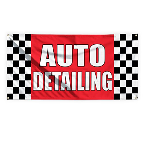 Top Auto Detailing #1 Outdoor Advertising Printing Vinyl Banner Sign With Grommets - 3ftx6ft, 6 Grommets