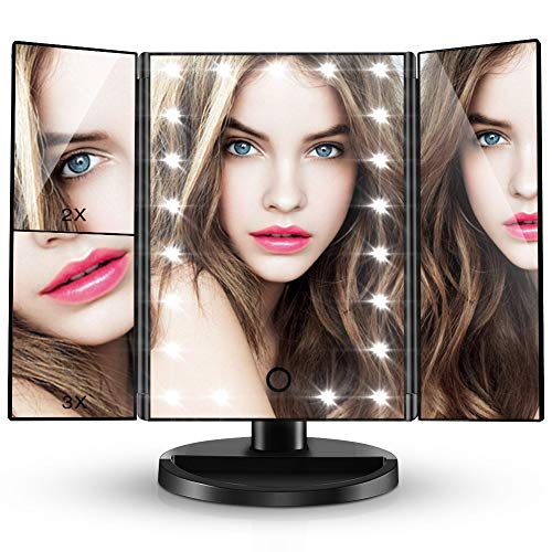 CocoBear Lighted Makeup Mirror, Lighted Vanity Mirror Trifold with 21 LED Lights, 2X/3X Magnification, Touch Screen, Dual Power Supply High Definition Portable Mirror