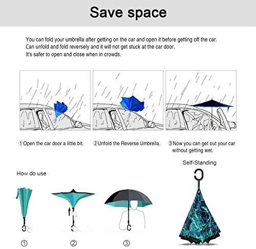 ターコイズ大理石 逆さ傘 逆折り式傘 車用傘 耐風 撥水 遮光遮熱 大きい 手離れC型手元 梅雨 紫外線対策 晴雨兼用 ビジネス用 車用 UVカット