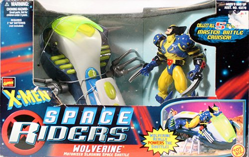 (WOLVERINE & MOTORIZED SLASHING SPACE SHUTTLE X-Men Space Riders MARVEL COMICS Action Figure & Vehicle)