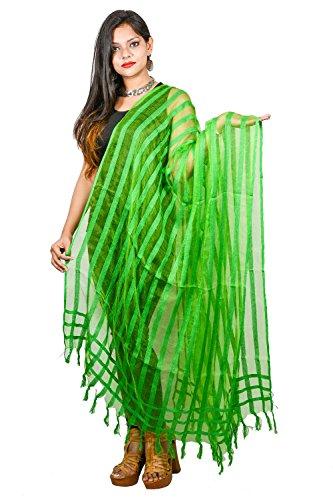 Green Neck Wrap Plain Lining Dupatta Chunni Scarf Shawl Fashion Women Organza Fringe Stole For Her by Stylob