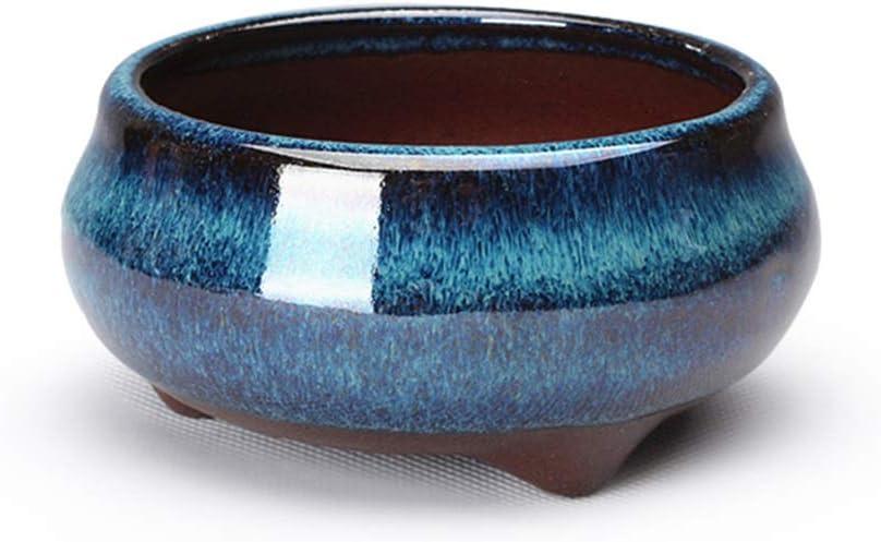 HUAJIANGHU China Redondas Cerámica Bonsai Macetas for Plantas vidriada Bote pequeño plantador de Bricolaje decoración del hogar (Color : As Photos)