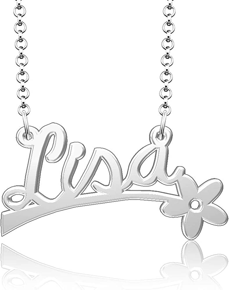 Infinite Memories 925 Sterling Silver Personalized Name Plate Customize Flower Pendant Lisa Name Necklace