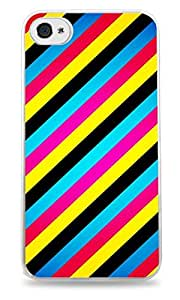 Vibrant Colored Stripes Design White Silicone Case for iPhone 4 / 4S