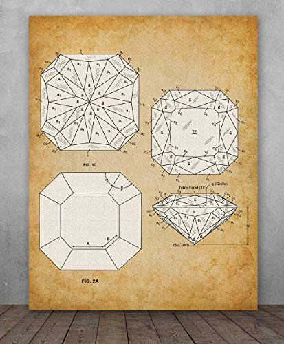 Poster - Princess Cut Diamond Patent - Choose Unframed Poster or Canvas - Makes a Great Gift for Gemologists, Jewelers or Bathroom Decor