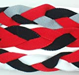 3 PACK! Extreme Sports Braided Mini NON SLIP Sports Headband (Red Black Gray-Red Black-Red Black White)