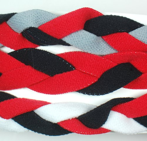 3 PACK! Extreme Sports Braided Mini NON SLIP Sports Headband (Red Black Gray-Red Black-Red Black (3 Pack Mini Headbands)
