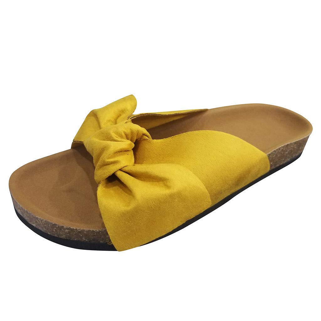 ZOMUSAR New! 2019 Women Fashion Bow Tie Flat Thick Bottom Heel Sandals Slipper Rome Beach Shoes Yellow