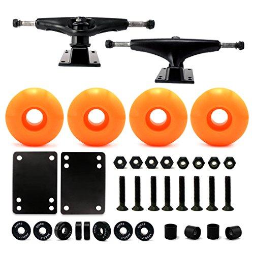 5.0 Skateboard Trucks (Black), Skateboard wheels 52mm, Skateboard Bearings, Skateboard Pads, Skateboard Hardware 1