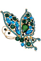 Alilang Womens Gold Tone Blue Green Rhinestones Butterfly Insect Brooch Pin