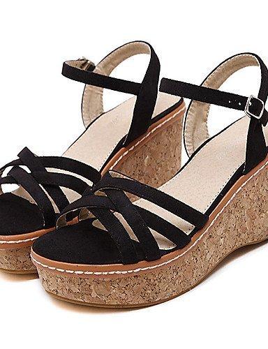 Sandals Black Women's Open Toe ShangYi Black Dress Fleece Pink Wedge Shoes Heel gw0qZ