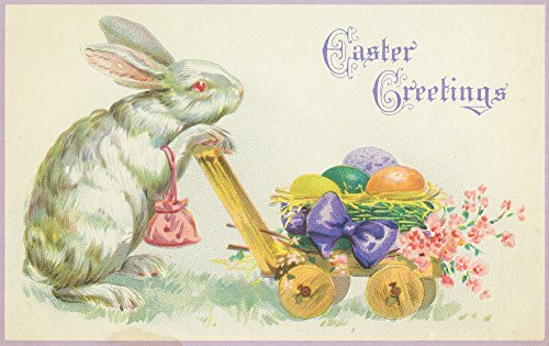 Easter Greetings Scene of Easter Bunny Pushing Eggs - Vintage Artwork (24x36 SIGNED Print Master Giclee Print w/ Certificate of Authenticity - Wall Decor Travel Poster)