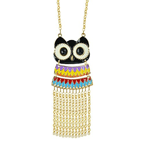 Twinkle Enamel Pendant Necklace - Opera Owl w/ Strings (Black) (Homemade Bird Costumes For Adults)