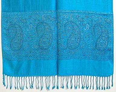 Nr Schultertuch Stola mit Paisley Muster Unbekannt Pashmina Schal 23 T/ürkis