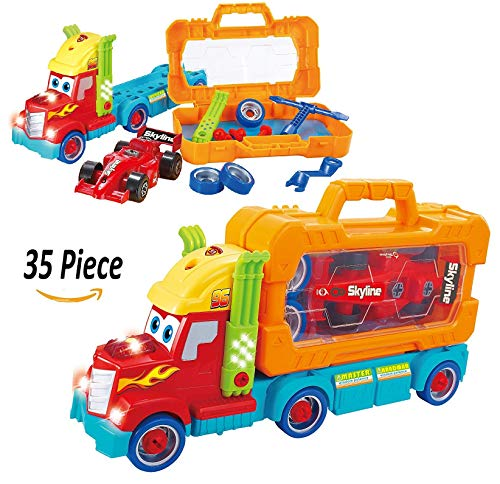 toys bhoomi 35 piece take apart carrier tool box with racing car toy vehicle truck with lights and sounds for kids cars playing  661 194   Multi color