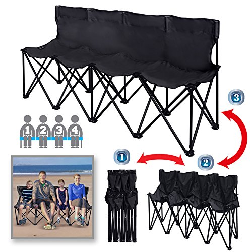 BenefitUSA Portable Sports Bench Sits 3/4/6 Seater Folding Team Sideline Bench Camping Bleacher Chair with Back and Carry Bag (4 Seater, Black) ()