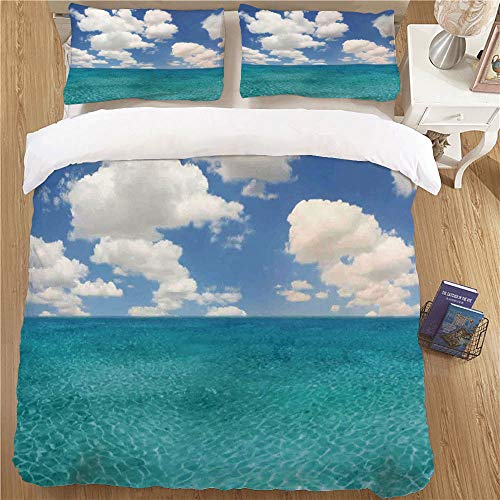 Kids Duvet Cover Set,Twin Size,2 Piece Soft Kids Bedding Sets Ocean Dreamy Skyline with Clouds Over Crystal Water Sea Coast Tropical Island Image Turquoise - Raiders Tiger Aqua