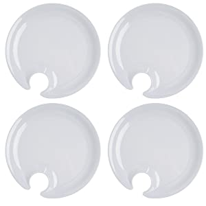 Cobble Creek (4 Pack) Plastic Appetizer Plates With Wine Glass Holder for Parties, Weddings, Holiday