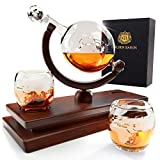 Globe Whiskey Decanter And Glass Set   Double Thickness Glass and Crystal Stopper   Liquor Decanter and Dispenser