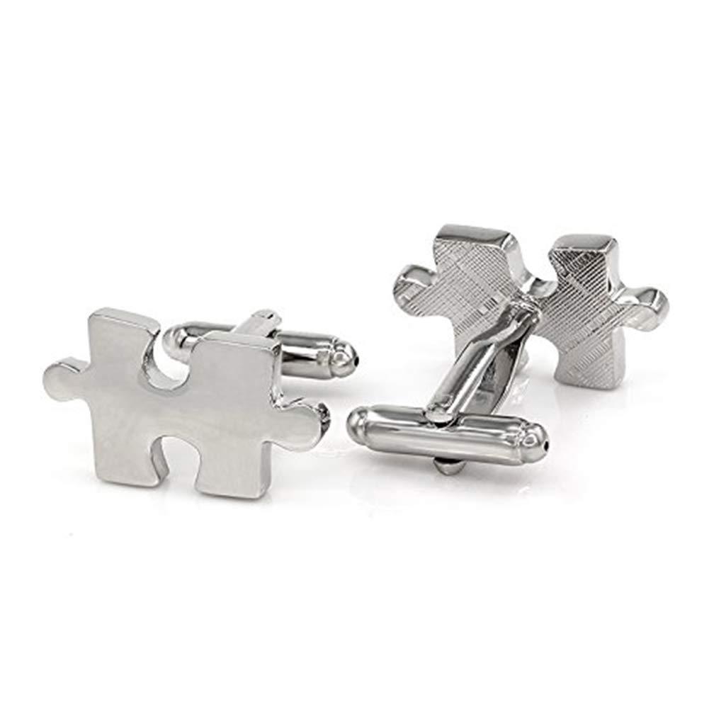 ZYCX123 Hommes Boutons de manchette en acier inoxydable Simplicité Puzzle Piece inoxydable Boutons de manchette(Argent)
