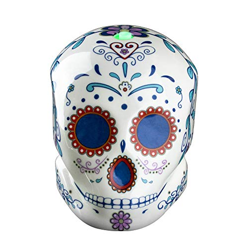 Halloween Forevermore Ceramic Essential Oil Diffuser | Day of the Dead Sugar Skull Design | Adjustable Light Settings | Silent Personal Humidifier for Aromatherapy Oils