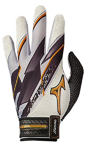 Fastpitch Softball Batting Glove - Mizuno Women's Nighthawk Fastpitch Batting Gloves, White, Large