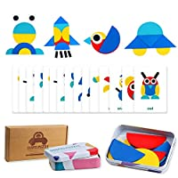 Wooden Animals Jigsaw Puzzles Educational Toys Shapes Puzzles Pattern Blocks for Toddlers Fine Motor Games Sorting and StackingToys for Boys Girls Age 3+(36 Shape Pieces& 60 Design Cards in Iron Box)