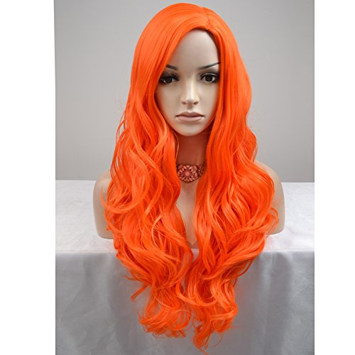 BERON Long Curly Women Girls Charming Full Wigs for Cosplay Party or Daily Use with Wig Cap (Orange)