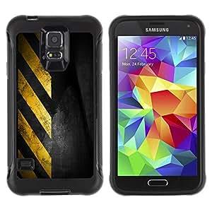 LASTONE PHONE CASE / Suave Silicona Caso Carcasa de Caucho Funda para Samsung Galaxy S5 SM-G900 / Traffic Sign Yellow Tape Black Stripes