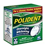 Polident Overnight Whitening Antibacterial Denture Cleanser Effervescent Tablets, 40 count (12 count)