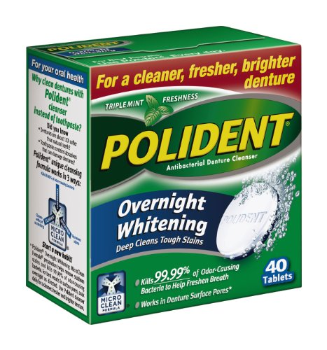 Polident Overnight Whitening Antibacterial Denture Cleanser Effervescent Tablets, 40 count (12 count) by Polident