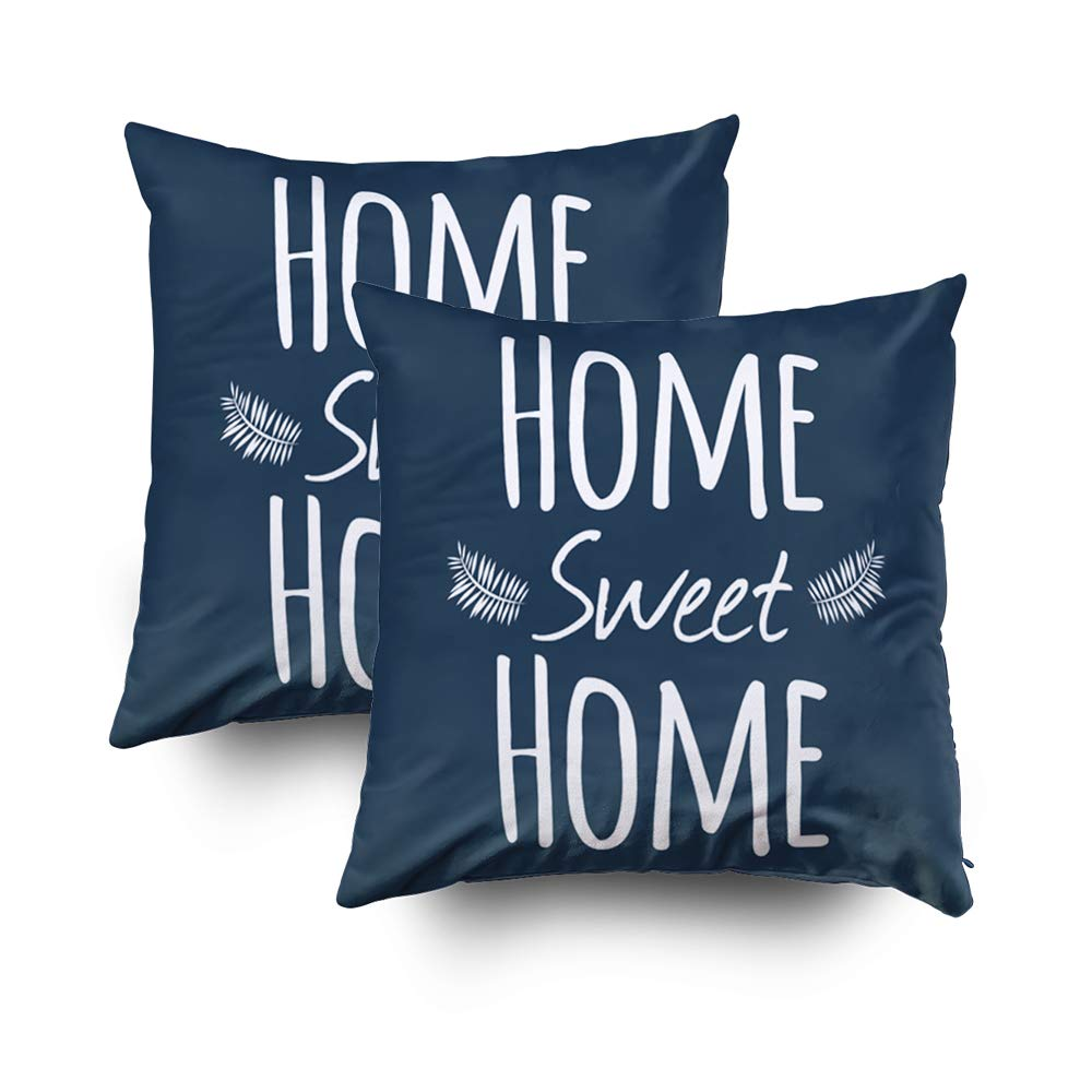 Capsceoll 2PCS home sweet home typography Decorative Throw Pillow Case 20X20Inch,Home Decoration Pillowcase Zippered Pillow Covers Cushion Cover Words Book Lover Worm Sofa Couch