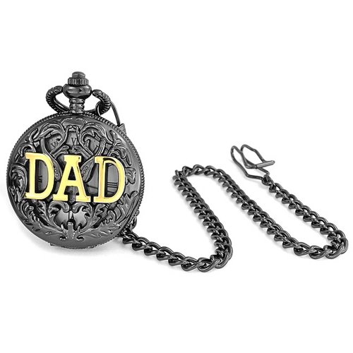 Two Tone Dad Father Gift White Dial Pocket Watch for Men Black Gunmetal Gold Plated Alloy with Chain ()