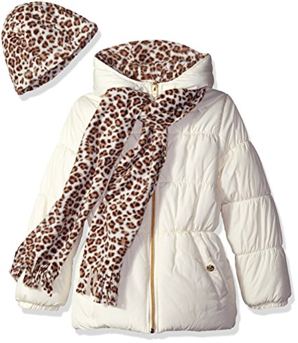 Pink Platinum Girls Puffer Jacket with Cheetah Lining and Accessories