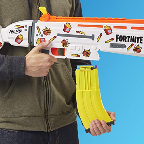 51Cg%2BvAgNlL - NERF Fortnite AR-Durrr Burger Motorized Blaster -- Customizing Stickers, 20 Darts, 10-Dart Clip -- for Youth, Teens, Adults (Amazon Exclusive)