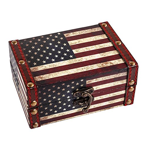 WaaHome Small Treasure Chest Wooden Treasure Box Vintage Americal Flag Decorative Jewelry Box For Women Men Girls Gifts,5.5