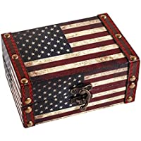 """WaaHome Small Treasure Chest Decorative Wood Jewelry Keepsake Boxes for Kids Girls Boys Gifts Home Decorations,5.5"""" LX3.9 WX2.5 H (American Flag)"""