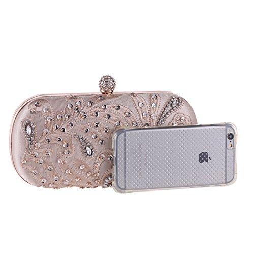 Cuentas incrustado Color Silver del Champagne Bolso Bolso Diamante Bolso de con de Arte del Embrague Mujeres Noche Moldeado del del de Uzanesx Las qw8tKRy1R
