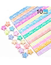 NICROLANDEE 420 Sheets Origami Stars Paper Different Designs Glows in The Dark 10 Colors Decoration Folding Origami Paper Strips