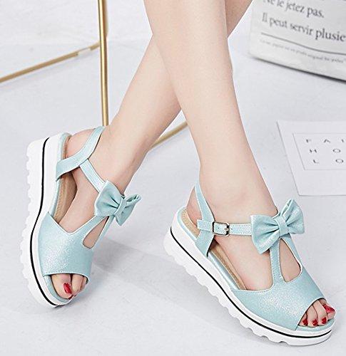 Aisun Femmes Confort Épais Semelle Peep Toe Plate-forme Habillée Sandales Compensées À Talon Moyen Avec Arc Bleu