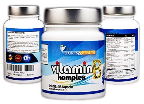 Vitamin B Komplex - 60 vegetarische Kapseln - Mit Allen B Vitaminen - 2 Monatskur - B1 B2 B3 B5 B6 B7 B9 B12 - Thiamin Riboflavin Niacin Calcium D-Pantothensäure Folsäure Biotin Vitamin H