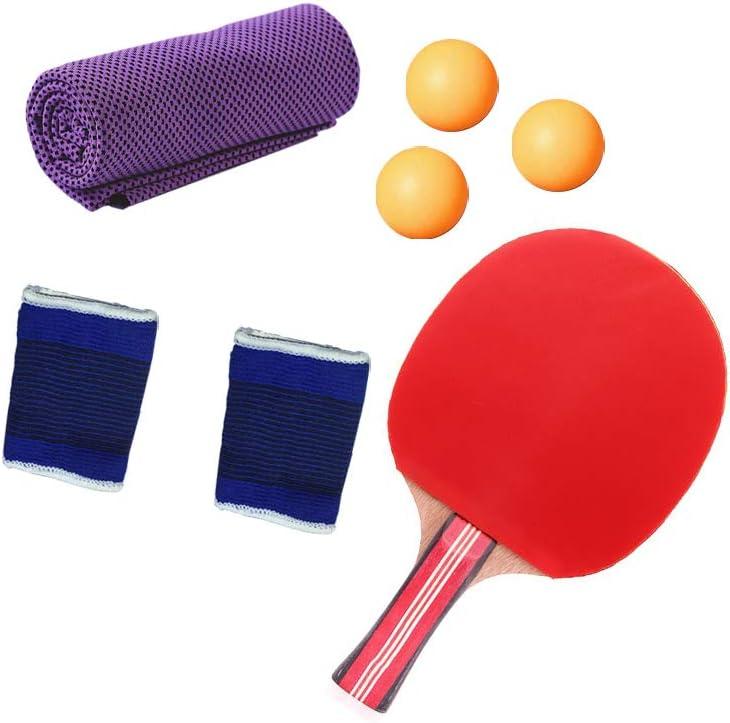 SONSYON Raquetas de Tenis de Mesa - Table Tennis Pelotas Set Portátil Bolsillo Funda y Toalla de Enfriamiento